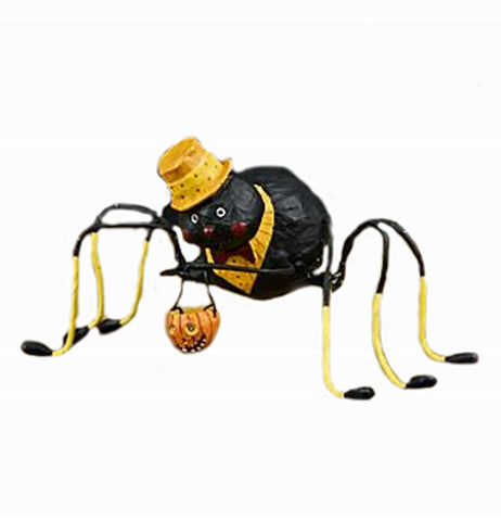 The Willie Web Weaver that has a figure of a black spider carrying a Halloween pumpkin basket.