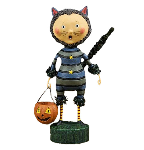 The Sour Puss wears a striped cat costume holding a jack-o-lantern bucket in his hand.