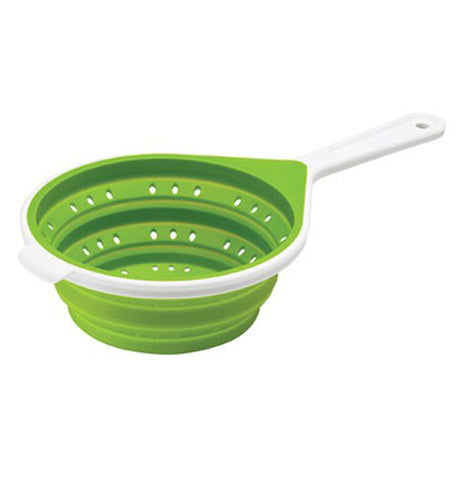 A green colander with a white plastic handle and rim.