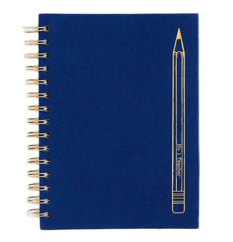 "The Spiral ""No. 1 Teacher"" Notebook is dark blue colored with a gold foil pencil design that reads ""No. 1 Teacher""."