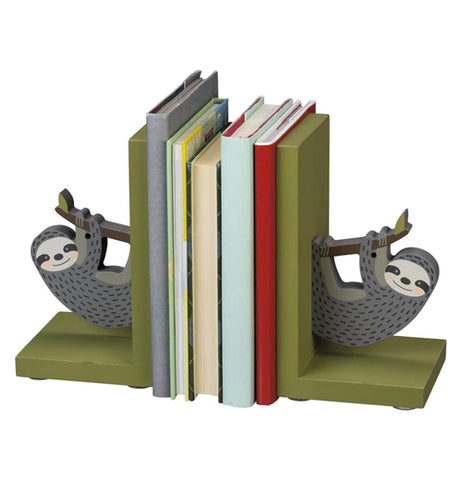 Some books are shown stacked between the two sloth sculpture bookends.