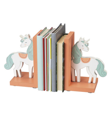 "The ""Unicorn"" Bookends are holding books."
