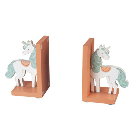 "These two brown wooden ""Unicorn"" bookends have unicorns with glitter details on each end."
