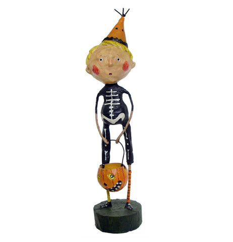 This figurine wears a black and white skeleton costume and an orange party hat while holding an orange trick or treat bucket shaped like a Jack-O-Lantern.
