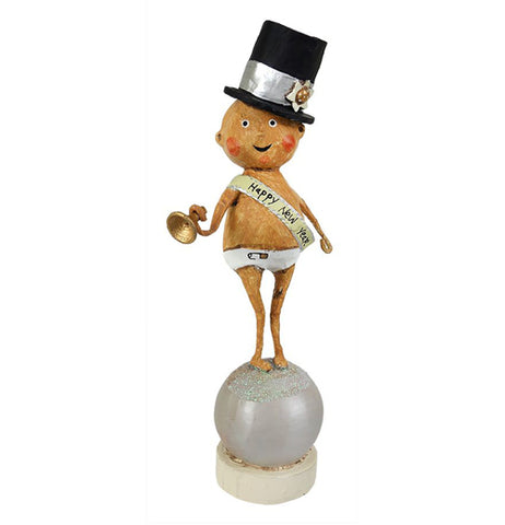 A baby new Year standing on a ball with a top hat and Happy New year taped a crossed him.