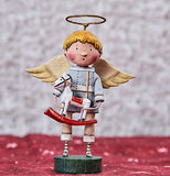 The blonde angel figurine wearing the golden halo, bluish grey shirt, and tan pants with black shoes, holds the toy sculpture figurine of a horse against a red and white background.