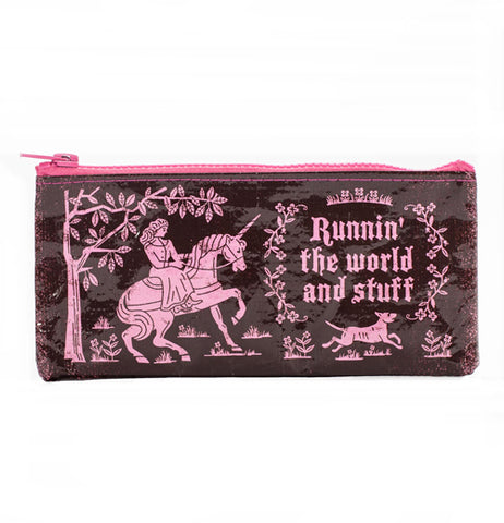 "This black bag with a pink zipper features a pink decoration of a lady riding on a unicorn in front of a tree with the words, ""Runnin' the world and stuff', surrounded by by flowers in pink lettering with a dog running below."