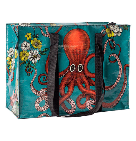 The Shoulder Tote shows a red octopus with a black handle on the side.