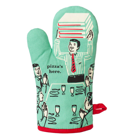 "This oven mitt has a turquoise blue fabric with a man in a shirt delivering boxes of pizza to dinner guests with a black text that says, ""Pizza's Here""."