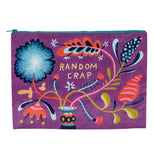 "This purple pouch has a blue zipper and features a colorful floral design and says 'Random Crap"" in yellow lettering."