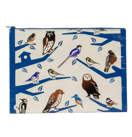 A pouch with different kinds of birds like owls and woodpeckers sitting on blue tree branches with leaves against a white background.