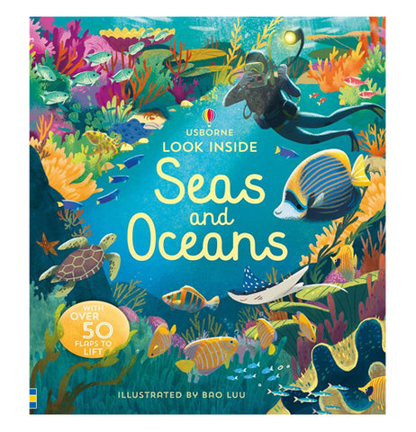 This book describes the ocean and the sea with different sea creatures and fish and a scuba diver taking pictures of the ocean. The name of the book is called Sea's and Oceans.