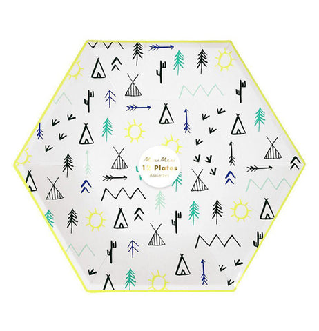"This Large ""Let's Explore"" Plate feature a campground pattern of teepees, trees, mountains, and arrows over a white background in a clear package with a sticker telling that ten come in the package in the center."