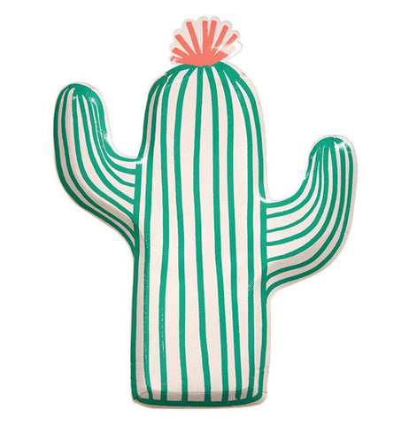 "This ""Cactus"" Plate has the shape of a cactus with green and white stripes with a pink blossom on the top."