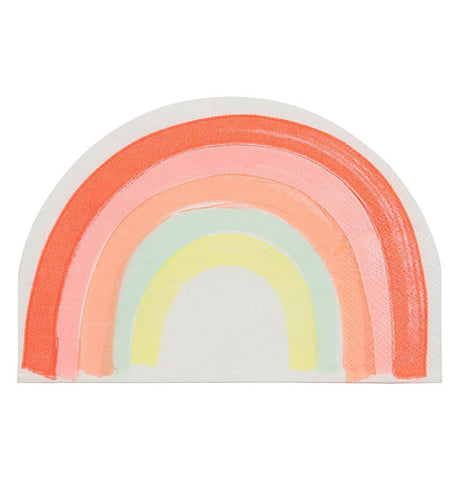 "This ""Rainbow"" Napkin has a shape of a rainbow, with neon red, pink, orange, light blue, and yellow colors."