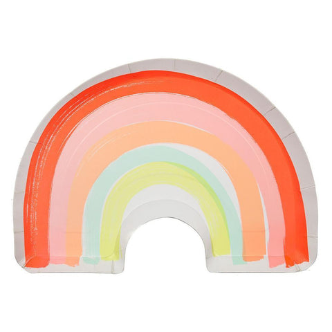 The plate is in the shape of a rainbow with neon red, pink, orange, light blue, and yellow corlors.