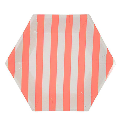 "This ""Coral Stripe"" plate has a hexagonal shape with coral pink and white stripe design."