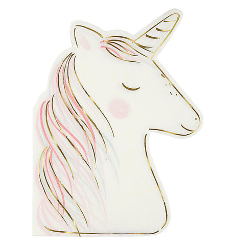 "The Large ""Unicorn"" Napkin is shaped like a white unicorn head with a gold foil horn and trim with pink and gold hair."