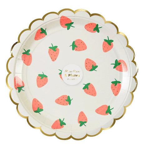 "The Large ""Strawberry"" Plate has a decorative design of strawberries with a gold foil edge, with eight of them in the package."