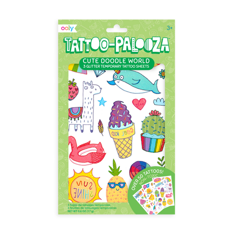 Tattoopalooza Temporary Tattoos - Cute Doodle World Glitter