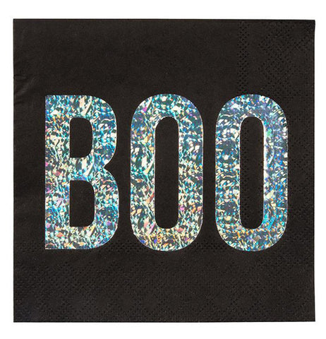 "Black napkins have the word ""Boo"" written in sparkly letters on the front."