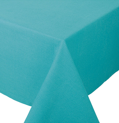 This Rectangle Turquoise tablecloth is folded at the end of the table.