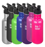 These seven stainless steel water bottles are shown together in different colors. The first one is silver, the second is black, the third is green, the fourth is blue, the fifth is purple, the sixth is hot pink, and the seventh is magenta.