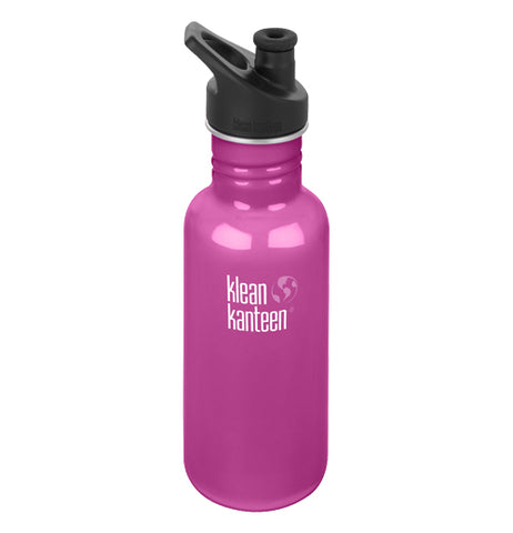 "The hot pink stainless steel water bottle with the black sport cap and the logo, ""Klean Kanteen"" on the front is shown individually."