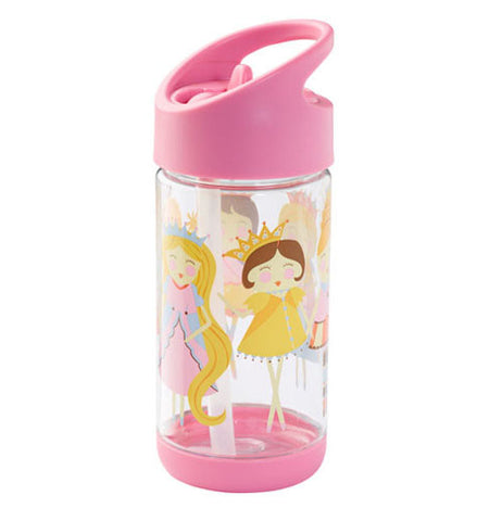 A cup with a pink non dripping lid with princesses smiling.