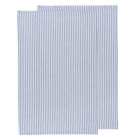 Set of two blue and white striped dish towels.