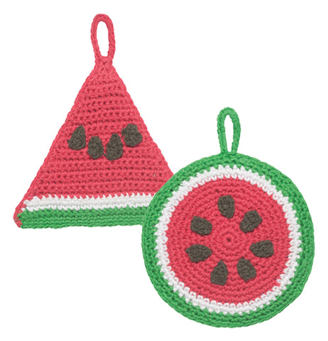 "The Set of 2 Tawashi ""Watermelon"" Scrubbers has the shape of a triangle and round slice of watermelon."