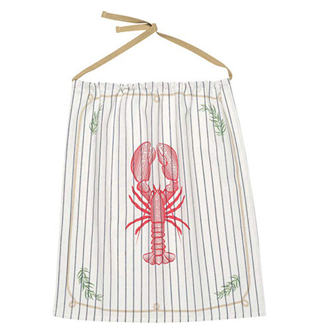 This white Lobster Bib Has a red lobster on it and has black stripes.
