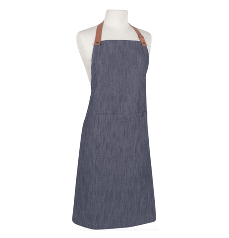 Denim renew apron with a adjustable leather strap.