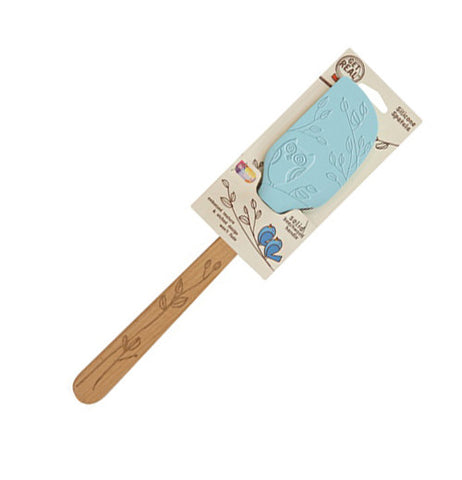 Solid Beechwood handle with a blue silicone spatula blade.