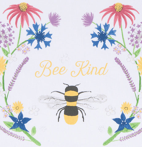 "A close up of the bee with the flowers on either side is shown with text above the bee that says ""Bee Kind""."