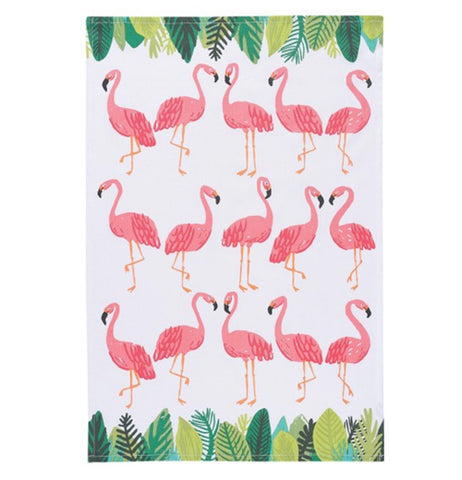 "The ""Flamingos"" Tea Towel features the rows of pink flamingos standing over a white background."