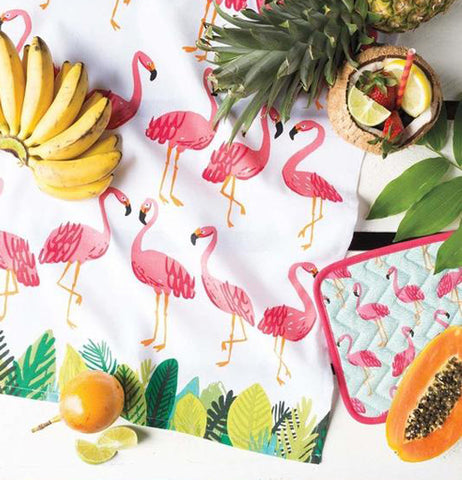 "A variety of fruits are on the ""Flamingos"" Tea Towel."