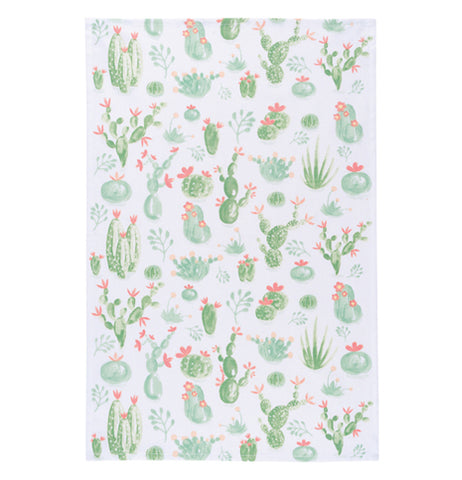 White tea towel featuring a cacti print.
