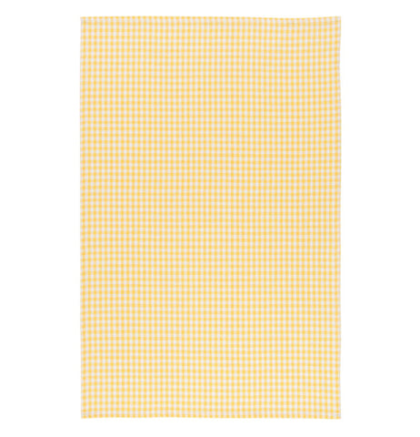 The yellow plaid design towel is shown.