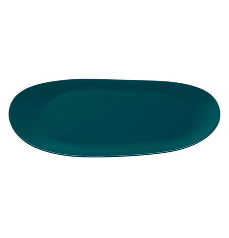 "Teal colored oval tray that measures 14"" x 8.75"""