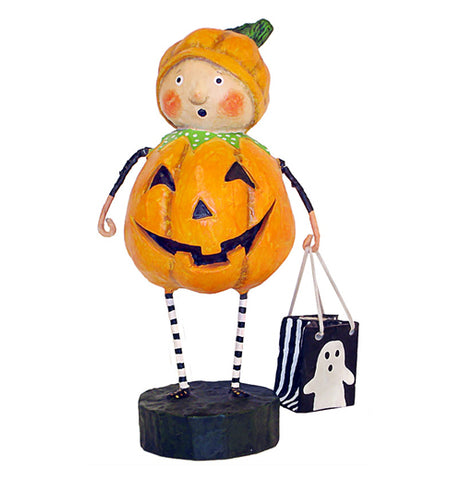 "The ""Punkin Pie"" figurine wears an orange and black pumpkin costume while holding a black trick or treat bag with a white ghost on it."
