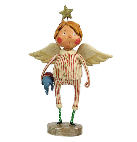 This rosy-cheeked little boy figurine is of an angel with golden wings and a golden star halo. He is shown wearing white and red striped pajamas and holding a stuffed elephant.