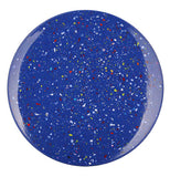 This ocean blue plate teems with white paint splattered polka dots.