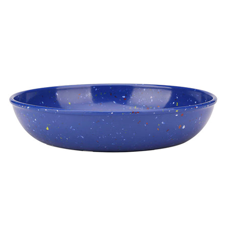 This ocean blue pasta plate sports a design of white and red paint splattered polka dots.