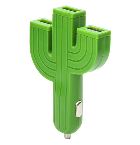 Green cactus with three stems with USB ports at the top.