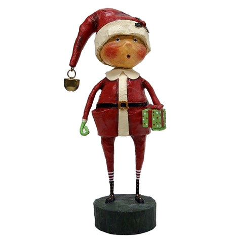 This sculpted figure is of a boy dressed in a santa claus outfit and hat, holding a present wrapped in green.