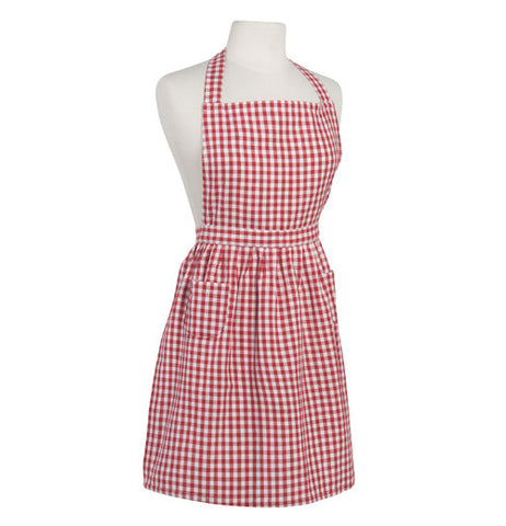 Red and white checkered apron.