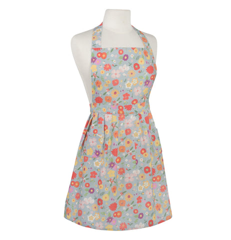 "The ""Flowers of the Month"" Apron features a colorful floral design over a light gray background."