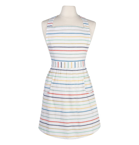 This is a Jubilee classic apron that features colored stripes running horizontally over a white background