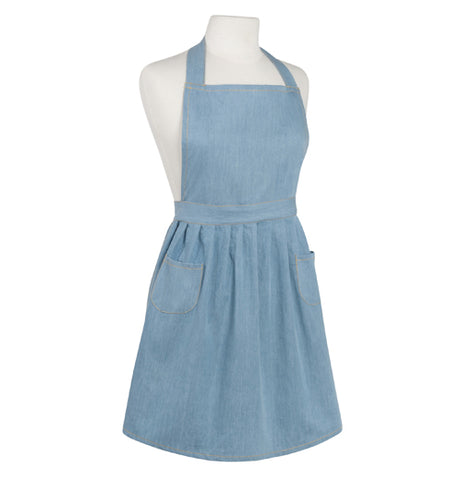 Light blue denim apron with two front pockets and a waistband with a full skirt on a mannequin bust.